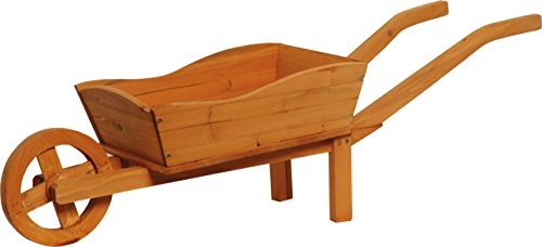 dobar 29195FSCe Pflanzschubkarre, Hochbeet aus Holz, 107 x 29 x 30 cm, Kiefer, Braun, 107 x 32 x 41 cm