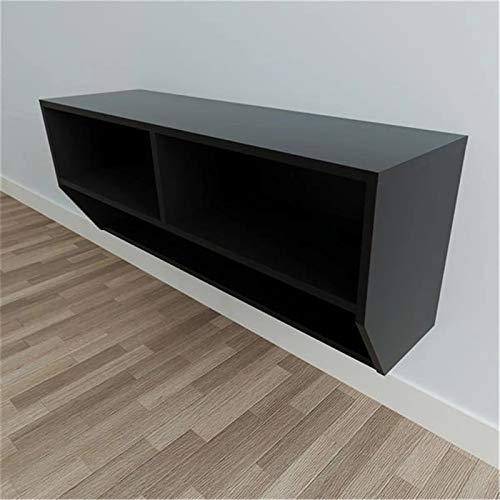 CuteLife Mueble para TV Gabinete de TV montado en Pared Negro Dwer-Tier Gadget de Almacenamiento Muebles de Sala de Estar Muebles de Pared Mueble de TV para el Dormitorio de la Sala de Estar