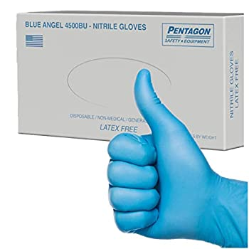 4.5 mils Heavy Duty Disposable Gloves ,Powder Free Latex Free Industrial Nitrile Gloves Pack of 100  XL