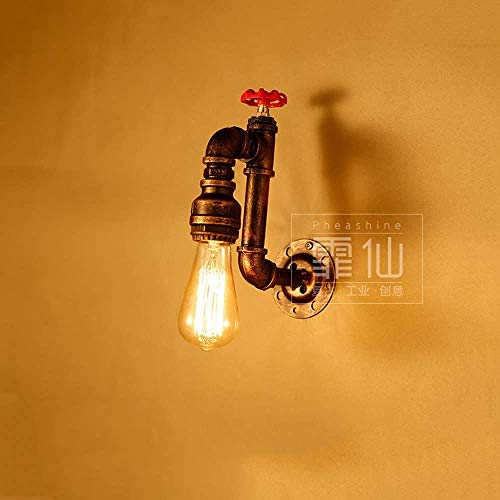 Aaedrag Vintage Agua Tubería de pared Luz de pared Hierro forjado Antiguo Steampunk 1-Luz Lámpara de pared creativa Lámpara Loft Industria Restaurante Cocina Barn Warehouse Bar E27 Decoración Wall Sco