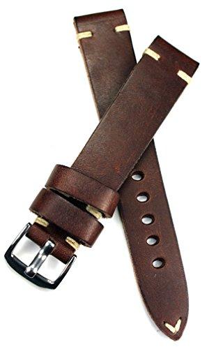 RIOS1931 18mm Vintage Kalbseder Fliegerband Deutsch Uhrenarmband Dunkel Braun