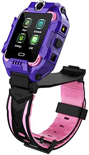 4G - Reloj inteligente para niños, Bluetooth, videollamada, GPS, pasos de posicionamiento, emergencia, Cal, cámara doble, reloj inteligente para niños, color morado