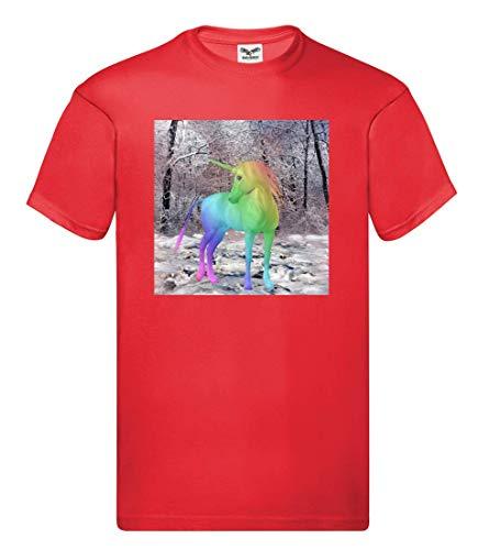 Camiseta – Unicornio Fabelwesen Multicolor Cuento de hadas – Camiseta para hombre y hombre rojo L