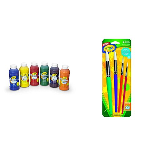 Crayola 6 Count 8 oz. Washable Kids Fingerpaints, Paint Supplies for Kids,3 Bold Primary & 3 Bright Secondary colors with Crayola Big Paint Brushes (4 Count Round) Bundle