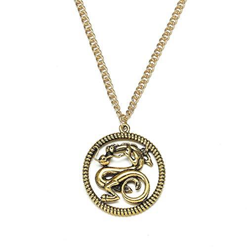 YUNMENG 2020 Collar Mulan Mushu Medalln Colgante Collar Oro Plateado Dragn Joyera Mujeres Princesa Mulan Disfraz De Cosplay