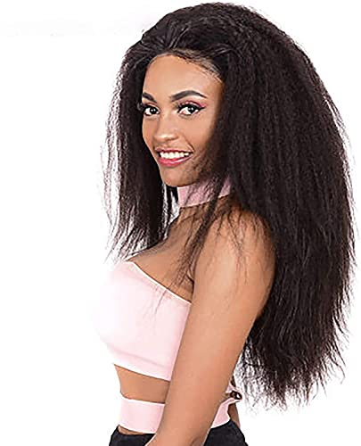 Long Synthetic Wigs Natural Lace Front Human Afro Kinky Curly Wig for Women Available Black Natural Afro High Temperature Hair Brown (Color : Black)