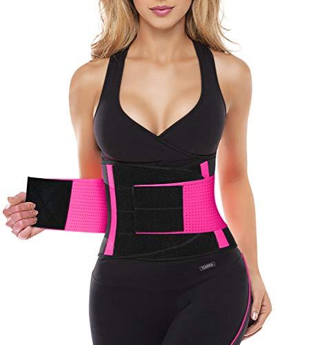YIANNA Mujer Faja Reductora Adelgazante de Neopreno Cintura Abdominal Cinturón Corset Reductor Lumbar Waist Trainer Belt Rosa,UK-YA8002-Rose-M