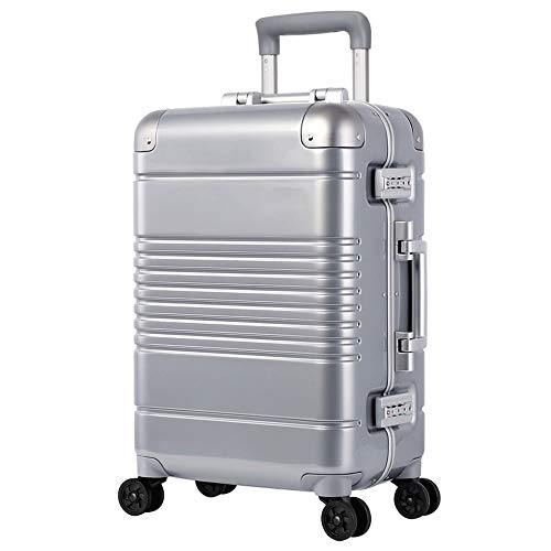Cooralledtooere Lightweight Zippered Suitcase Hard-top Suitcase with TSA Lock and 4 Spinner Wheels,Men and Women Aluminum Frame Luggage Box Universal Wheel Trolley Case (Color : A, Size : 20inch)