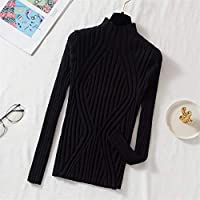 女性用セーター冬のプルオーバーセーターニットの弾力性カジュアルジャンパータートルネック暖かい女性のセータープルファム-Black_One_Size
