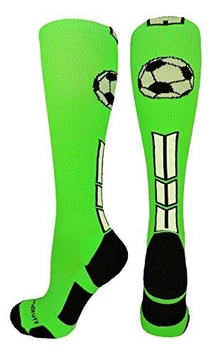 MadSportsStuff Socken mit Fußball-Logo über der Wade (mehrere Farben), Mädchen, Neongrün/Schwarz/Weiß, Large