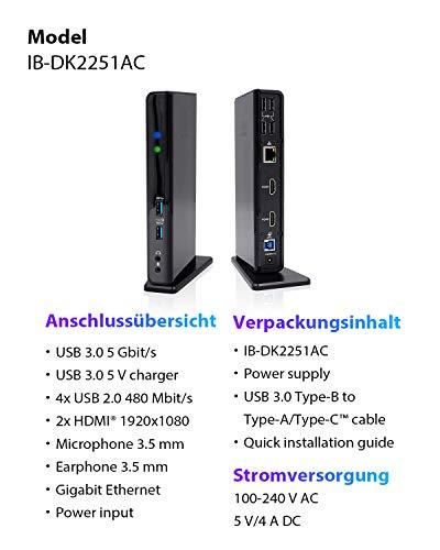 ICY BOX USB 3.0 & USB-C Docking Station mit 2 HDMI, 6-fach USB Hub, LAN, Audio, mit Standfuß, Schwarz