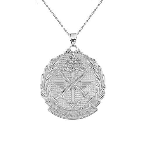 Plata de Ley Líbano ejército insignia colgante collar (pequeño)