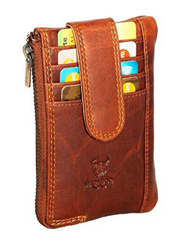 MATADOR ECHT-Leder Schlüsseletui Kleine Geldbörse Kartenfächer Schlüssel-Tasche Groß mit 2 Schlüsselring Braun Schlüsselmäppchen