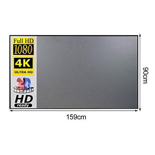Proyector de lienzo, pantalla de proyección plegable, pantalla portátil 16: 9, pantalla de proyección HD con cinta adhesiva de doble cara para cine en casa o exterior, pantalla de película