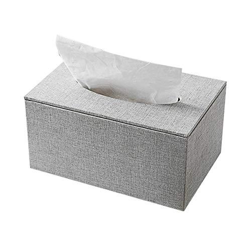 Sooair Caja de pañuelos de madera para pañuelos de papel y pañuelos, color natural (gris)