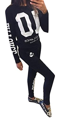 UUYUK Womens 2 Pieces Sweatsuits Tracksuit Print Top and Sweatpants Set Black US M