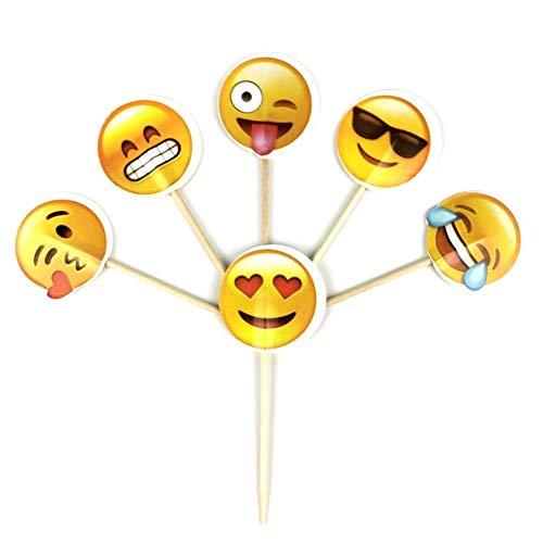 ERFHJ 24 Stks Emoji Smiley Emoji Thema Taart Topper Taart Decoratie Verjaardagsfeestje Kinderen Trouwen Bad Feestbenodigdheden
