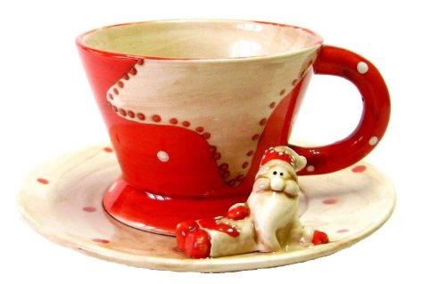 Weihnachtstasse Tasse mit Untertasse und Weihnachtsmann