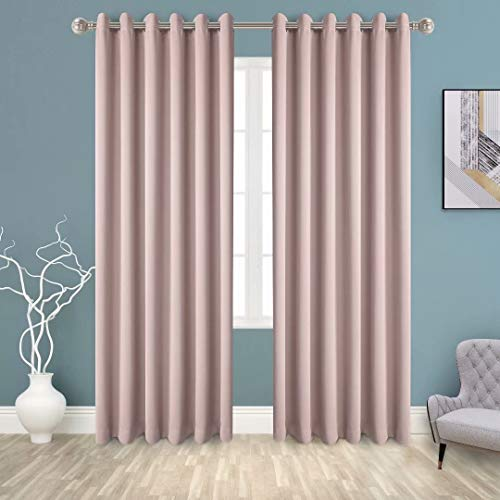 BONZER Grommet Blackout Curtains for Bedroom - Thermal Insulated, Energy Efficient, Noise Reducing and Light Blocking, Room Darkening Curtains for Living Room, Blush, 70 x 95 inch, Set of 2 Panels