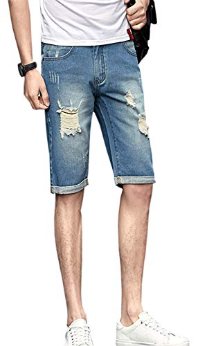 chouyatou Men's Distressed Casual Straight Fit Frayed Ripped Burmuda Jean Shorts (32, Light Blue)