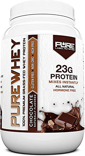 Pure Label Nutrition 100% USA Grass-Fed Whey Protein Concentrate, 2lb Chocolate, Non-GMO, rBGH Free, Soy Free, Gluten Free, Low Carbs and Low Fat, No Sugar Added, Keto Friendly