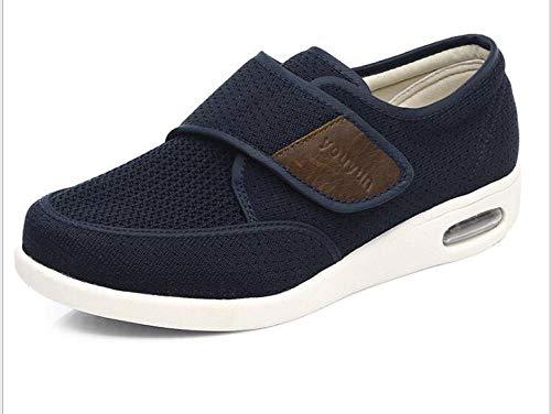 B/H Zapatos para Caminar Extra Anchos con Cierres,Zapatos Deportivos de Verano para Hombre, Zapatos con cojín de Aire Transpirable con Velcro-Blue_42