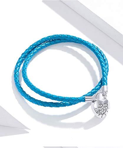 Wh1t3zZ1 Pulsera Mujer 925 Sterling Silver Heart Lock Basic Pulsera Lady Blue Long Cuero Cordón Pulsera Joyería Regalo