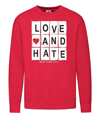 """Druckerlebnis24 - Sudadera para hombre y mujer, diseño con texto """"Liebe HASS New York"""" rojo XXXXL"""