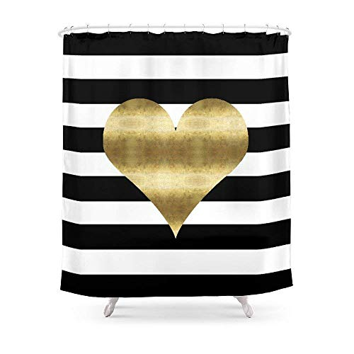 Gold Heart and Stripes Shower Curtain