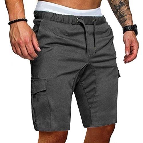 Yesgirl Homme Pantalon Court Décontracté Short Et Bermuda Sport Jogging Casual Slim Fit Poches Été De Jogging Sweat Pants Entraînement pour Homme Z1 Gris Foncé XXX-Large