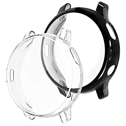 wlooo Funda para Samsung Galaxy Watch Active2 44mm, Carcasa Protectora Ultrafina Suave TPU Silicona, Anti-Arañazos Funda HD Claro Case Cover para Galaxy Watch Active 2 44mm [2 Piezas] (Negro + Claro)