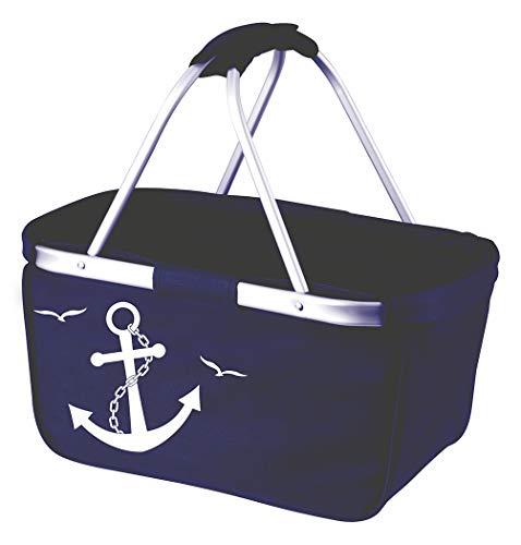 Mein Zwergenland Faltbarer Einkaufskorb mit Anker Bedruckt, Faltkorb in Marine Navy Blau, Korb klappbar mit 28l