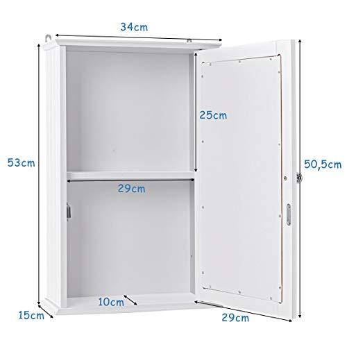 DREAMADE Spiegelschrank Bad, eintüriger Hängeschrank mit Spiegel, Holz Badspiegelschrank mit 2 Ablagen, ideal für Badezimmer, Schlafzimmer und Flur, 34x15x53 cm, weiß 3