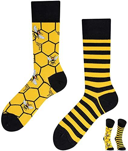 TODO Colours Lustige Socken mit Motiv - mehrfarbige, bunte, Verrückte für Herren und Damen (39-42, Bienen Socken)