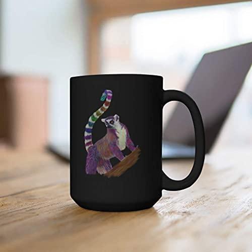 N\A Rainbow Lemur Black Mug 11oz Mug-Pug Mug Gift-Maga Mug-Holiday Mug Gift Set-Cute Mug Gift
