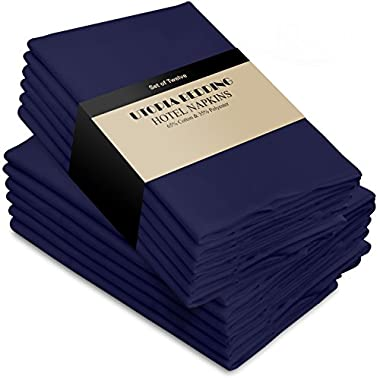 Utopia Bedding Cotton Dinner Napkins - Navy Blue - 12 Pack (18 inches x 18 inches) Soft and Comfortable - Durable Hotel Quality - Ideal for Events and Regular Home Use
