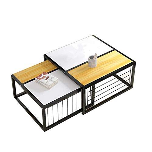 Living Equipment Table gigogne Combinaison de Salon Table Basse Nid de 2 Tables Tables d'appoint créatives Multifonctions évolutives avec canapé en métal et Bois Table Snack