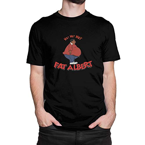 Men Guys Fat Albert and The Cosby Kids T-Shirt Cool Cotton Tees Tops Round Neck Short-Sleeve Shirt Tees Novelty Custom Tees Shirts 5X-Large Black
