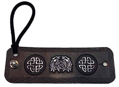 Handmade Black Leather Silver Celtic Dragons Hair Tie Ponytail Holder