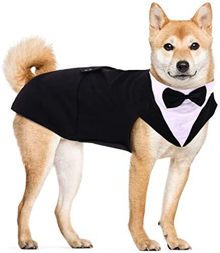 Hjyokuso Traje de Esmoquin para Perros de Tamaño Pequeño/Mediano/Grande, Ropa para Mascotas, Camisa para Cachorros con Lazo Negro Extraíble, Disfraz Formal para Bodas y Festivales(Negro, L)