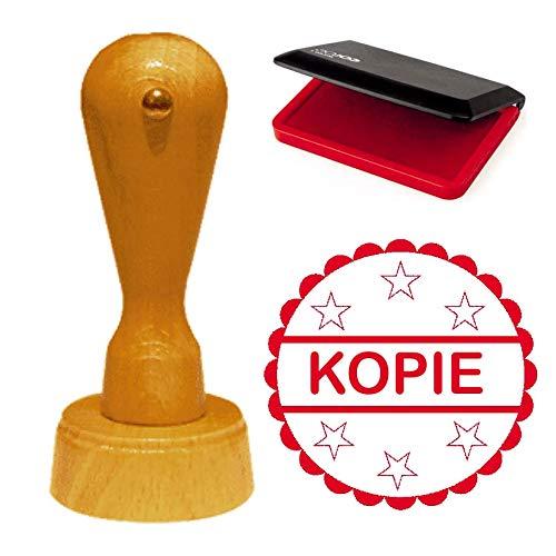 Stempel » KOPIE » incl. stempelkussen in rood - diameter ca. Ø 40 mm - met sterren en sierrand - statement kantoor