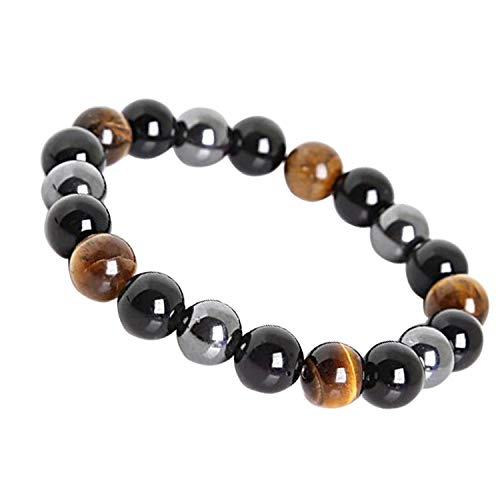 LY SHOW Tiger Eye Triple Protection Bracelet hématite et Obsidienne Noire(10mm)