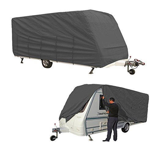 LUXUS XXL Wohnwagen Garage 8,0-8,5m Caravan Abdeckung, atmungsaktiver + reißfester mehrschichtiger Stoffüberwurf, wasserabweisende Wohnwagenhülle, Farbe: grau