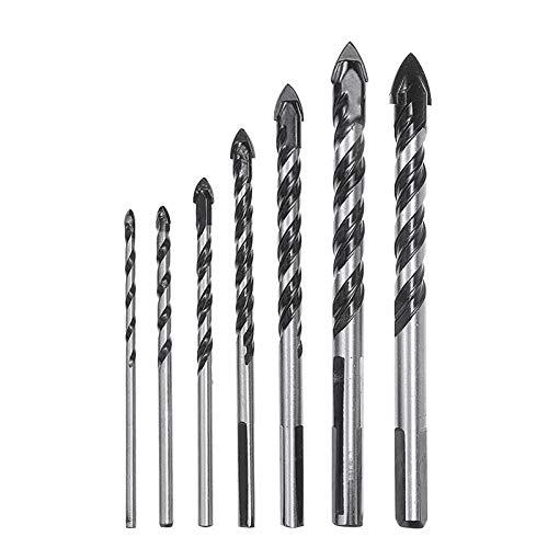 Brocas Para 7 unids de vidrio de carburo triángulo de triángulo broca 3-12 mm de aleación roscada de la pared Tilo de hormigón
