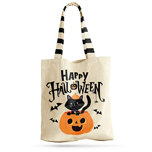 Halloween Trick or Treat Tote Bag With Handles - Reusable Premium Canvas Bag For Candy, Gifts, Grocery, Favors, Shopping - For Kids & Adults