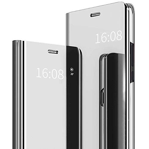 MadBee Coque OnePlus 7T Pro [Film de Protection écran], Smart Mirror Cover en Cuir Flip téléphone Mobile Étui Housse de Protection pour OnePlus 7T Pro (Argent)