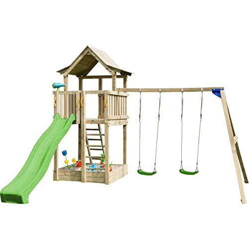 MASGAMES | Parque Infantil Torre Pagoda XL + Columpio | Plataforma 150 cm de Altura | Columpio de Dos plazas con Asientos Planos de plástico y Cuerdas | Anclajes incluidos | Uso doméstico |