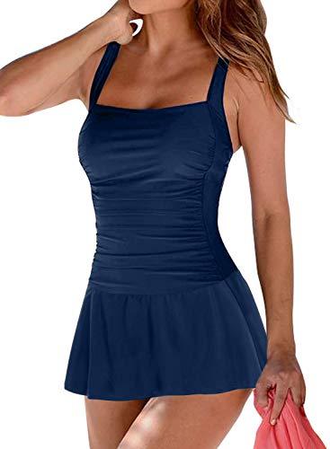 BLENCOT Costume da Bagno Donna Un Pezzo Scollo Quadrato con Coppe Imbottite Costume Intero Donna Mare Sexy Push Up con Increspato per Estate, Blu, XL