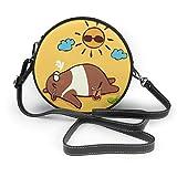 Bolso redondo mujer Shoulder Bags Women Round Bags Cute Bear Doing Yoga Asanas On Summer Crossbody Leather Circle Bag