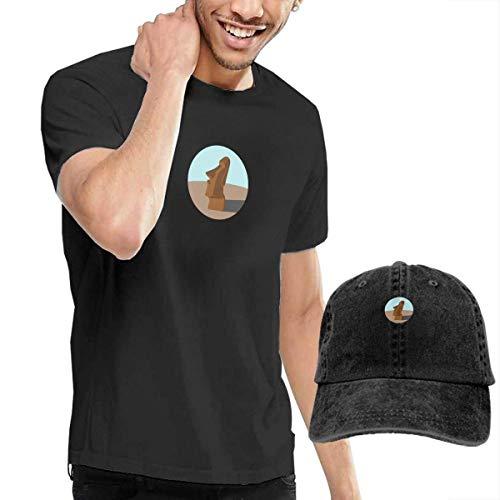 Preisvergleich Produktbild Kalinanai T-Shirts,  T-Stücke,  Moai Men's Cotton T-Shirt mit rundem Kragen und Verstellbarer Baseballkappe